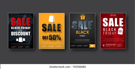 Design of vector posters for sale on a black Friday. Templates flyers black, red and yellow, with polygonal elements. Set