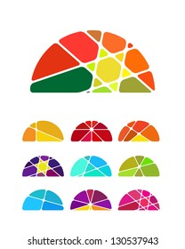 Design vector semicircular logo element. Colorful abstract pattern, icon set. You can use in the environmental protection, resource recovery, farm, club, leisure club, sky, and other commercial image.
