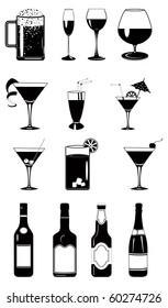 Design vector set of glasses and bottles.