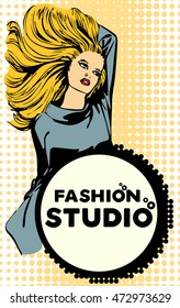Design vector template with woman long hair for a fashion studio
