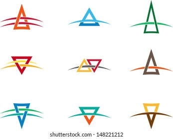 "Design vector triangle logo template. ""A"", ""V"" letters icon set. You can use in the buildings, awards, apartments, real estate and other organization concept of pattern."