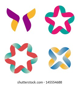 Design vector wave ribbons logo template. Icon set. You can use in the commerce, financial, construction ,spinning and communication concept of pattern.