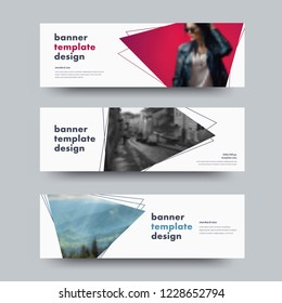 Design of vector white horizontal web banners with with triangular elements for photo and outer stroke. Standard size templates for business and advertising.