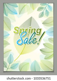 Design vertical banner with Spring typing logo, green and fresh leaves frame composition background. Seasonal card, promotion offer. Stylish classy botanical drawing, environment.