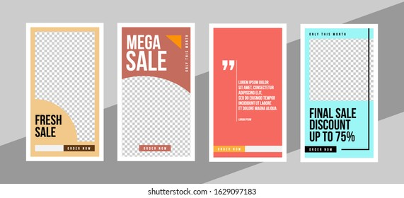 Design of vertical web banners social media post. A set of templates of standard size. Vector illustration