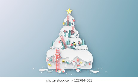 Design of the Village in the shape of Christmas tree and decorated with Christmas ornaments. Creative design for Christmas festive. paper cut and craft design. vector, illustration.