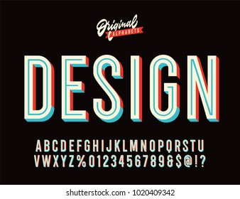 """Design"" Vintage 3D Inline Condensed Alphabet. Nostalgic Old School Retro Typography. Vector Illustration."