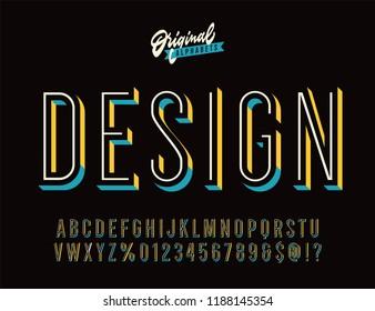 """Design"" Vintage 3D Inline Condensed Alphabet. Nostalgic Old School Retro Typography. Vector Illustration."