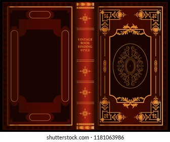 Design of a vintage binding for a book. Decoration of the book by ornament. Old book. Beautiful book. Vector illustration