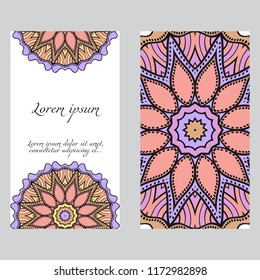 Design Vintage cards with Floral mandala pattern and ornaments. Vector template. Islam, Arabic, Indian, Mexican ottoman motifs. Hand drawn background