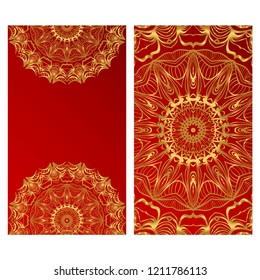 Design Vintage cards with Floral mandala pattern and ornaments. Vector template. Islam, Arabic, Indian, Mexican ottoman motifs. Hand drawn background.