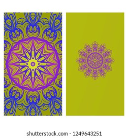 Design Vintage Cards With Floral Mandala Pattern And Ornaments. Vector Template. Islam, Arabic, Indian, Mexican Ottoman Motifs. Gradient color Background.