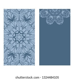 Design Vintage Cards With Floral Mandala Pattern And Ornaments. Vector Template. Islam, Arabic, Indian, Mexican Ottoman Motifs. Hand Drawn Background. Pastel blue color.