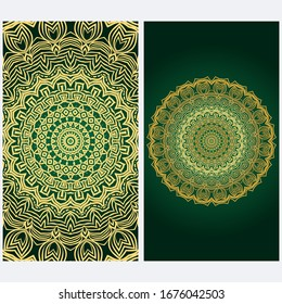Design Vintage Cards With Floral Mandala Pattern And Ornaments. Template. Islam, Arabic, Indian, Mexican Ottoman Motifs. Hand Drawn Background. Fanstastic color.
