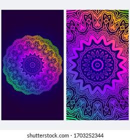Design Vintage Cards With Floral Mandala Pattern And Ornaments. Vector illustration