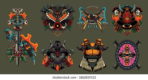 Design Vintage Emblem colorful labels set with Parakeet Bird Flame Dragon Spooky Head Skull and Bones Cyber style Mecha Helmet Symbolic isolated vector illustration