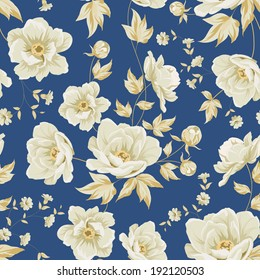 Design of vintage floral pattern. Vector illustration.