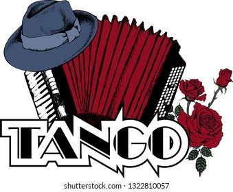 Design of vintage  hat and acordeon as a symbol of tango