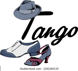 Design of vintage shoes and hat as a symbol of tango