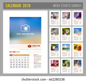 Flip calendar images stock photos vectors shutterstock design of wall monthly calendar for 2018 year print template with place for photo saigontimesfo