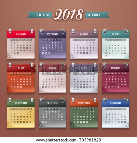 Design Wall Monthly Calendar 2018 Year Stock Vektorgrafik
