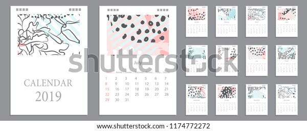 Calendar Pages To Print 2019.Design Wall Monthly Calendar 2019 Year Stock Vector Royalty Free