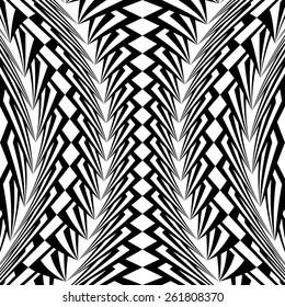 Design warped monochrome vertical geometric pattern. Abstract stripy textured background. Vector art. No gradient