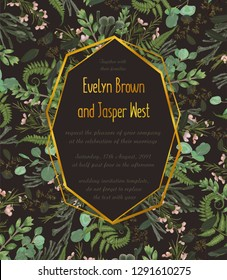 Design watercolor vector geometric golden frame on a brown background with leaves of forest fern, boxwood and eucalyptus branches, brunia. Can be used for wedding invitations, postcards, posters