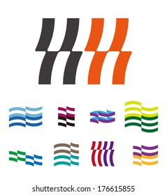 """Design wave lines logo element. Abstract stripe vector template set. """"k"""", """"h"""", """"m"""", """"n"""",""""s"""", letters icon set. You can use in the hotel, financial, media,chemistry, spa and pool concept of pattern."""