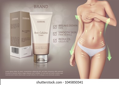 Design of web banner of anti-cellulite cream in tube with box. Advertising of means for care of body skin for women. Concept vector illustration of cosmetic cream with woman in white panties.