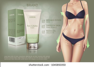 Design of web banner of anti-cellulite cream in tube with box. Advertising of means for care of body skin for women. Concept vector illustration of cosmetic cream with woman in underwear.
