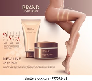 Design of web banner with anti-cellulite cream in tube and jar. Advertising of means for care of body skin and figure for women. Concept vector illustration of cosmetic cream.