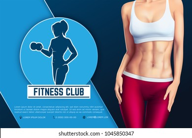 Design of web banner of fitness club emblem. Silhouette of athletic woman with dumbbell. Young sports sexy woman body