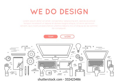 design web banner modern line style vector illustration. website graphic design concept