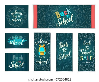 """Design Web banners of different  sizes. Hand written trendy quote 'Back to school, Back to school Sale, up to 50%"""" School doodles icons and symbols. Poster, flyer, brochure, web , advertising"""