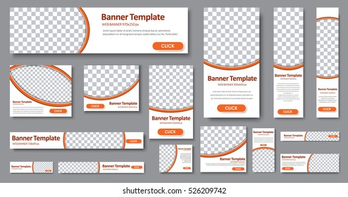 Design Web banners of different standard sizes. Templates with round place for photos, buttons. Vector illustration. Set.