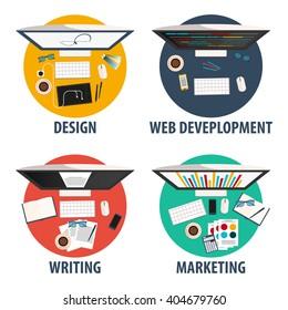 Design, web development, writing and marketing. Freelance profession set