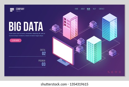 Design website or landing page template. Minimal modern high technology concept for data center with server or hosting. Isometric vector illustration.