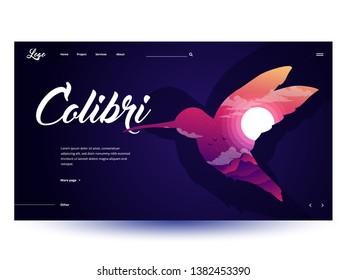 Design website or landing page template. Minimal modern concept. Colibri silhouette web design. Vector Illustration.