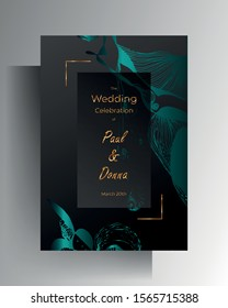 Design wedding invitation card. Turquoise texture elements and golden frames on a graphite black background are hand-drawn. Vector 10 EPS.