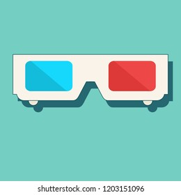 Design white 3D glasses for movies. isolated on a colored background. Stock flat vector illustration.