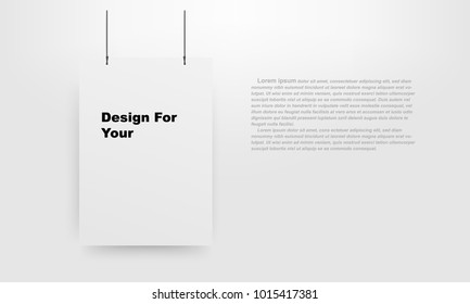 Design White Poster Mockup empty. vector EPS10 template.