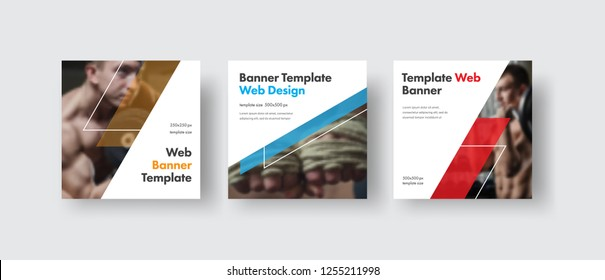 Design white square web banners for social media with place for photo, diagonal transparent color elements. Square templates for publications and advertising.