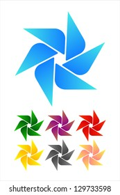 Design windmill logo element. Infinite cross ribbon vector icon template.