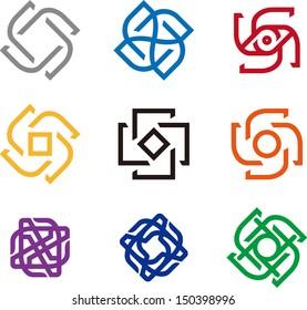 Design windmill logo element. Infinite cross  vector icon template.