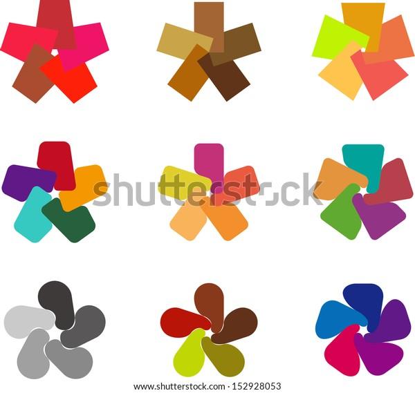 Design windmill logo element. Infinite cross pentagonal vector icon template.