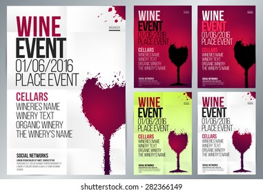 Design for wine event. Suitable for poster, promotional flyer, invitation, banner or magazine cover. Set of templates with various colors. Background texture folded paper. Vector. Editable by layers.
