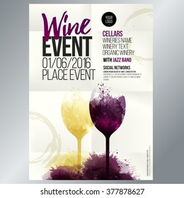 Design for wine event. Suitable for poster, promotional leaflet, invitation, banner or magazine cover. Background texture folded paper. Vector. Editable by layers.
