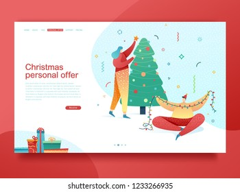 Design winter holidays landing page template. Merry Christmas and Happy New year website layout. Flat people couple characters  decoration tree. Trendy illustration for holiday offer banner. Vector.