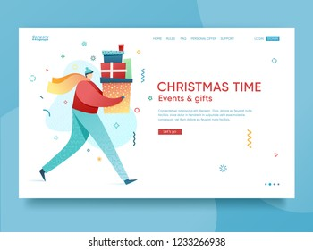 Design winter holidays landing page template. Merry Christmas and Happy New year website layout. Flat people characters with present and goft box. Trendy illustration for holiday offer banner. Vector.